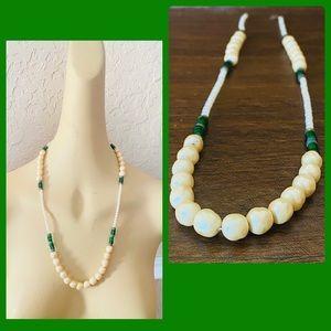 Vintage Hattie Carnegie Pearls & Green Necklace